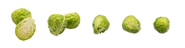 Green Brussel Sprouts Isolated. On White Background. Cabbage Plants Top View with Clipping Path Royalty Free Stock Photos
