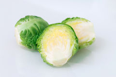 Green brussel sprouts. Green brussel sprouts on white background Stock Photography