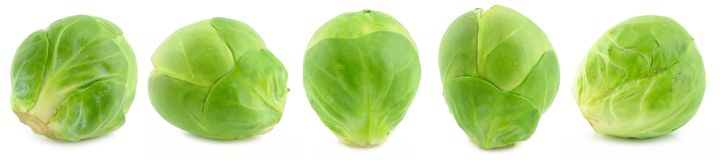 Green brussels sprouts. Isolated on white background Stock Image