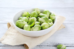Green brussels sprouts on a plate Royalty Free Stock Images