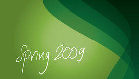 Green a bstract background. This illustration represents a handwriten Spring 2009 on a green background Stock Image