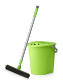 Green bucket and mop Royalty Free Stock Photos
