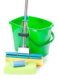 Green bucket, mop and sponge Royalty Free Stock Images