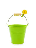 Green bucket on white. Love gardening - pretty green bucket with flower clip isolated on white Royalty Free Stock Photo