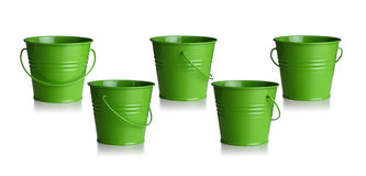 Green buckets Stock Photo
