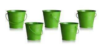 Green buckets Stock Photo