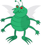 Green Bug. Isolated cartoon green bug standing Royalty Free Stock Photography