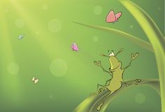 A green bug and butterflies cartoon Royalty Free Stock Photography