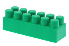 Green building block - no trademarks. Real macro of a green building block - no trademarks, pure white background Royalty Free Stock Photography