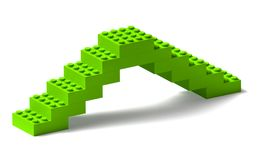 Building blocks bridge 3d construction on white Royalty Free Stock Photo