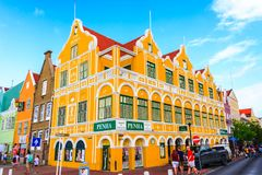 Green building in Curacao. Willemstad, Curacao - FEBRUARY 14, 2018: Yellow building in Curacao Royalty Free Stock Images