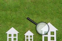 Green building house Development, Environmental Conservation, Ma. Environmental Conservation Concepts,Green building house Development, Magnifier Scrutiny Royalty Free Stock Photos