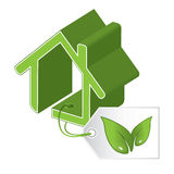 Green building icon Stock Photography