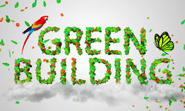 Green Building leaves particles 3D. Digital art Stock Photos