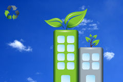 Green Buildings. An illustration of green buildings, with the recycling symbol on a corner Royalty Free Stock Images