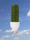Green bulb. Environmentally-friendly green CFL bulb over blue sky - pure energy concept Stock Photos