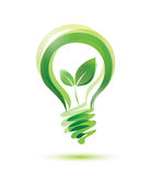 Green bulb. Green eco energy concept, plant growing inside the light bulb Stock Photos