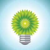 Green Bulb with green leaf Royalty Free Stock Photo