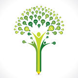 Green bulb or idea pencil tree design Royalty Free Stock Photography