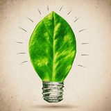 Green bulb  illustration. Leaf with sketched lamp. Isolated on white background Stock Photography