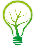 Green bulb lamp with tree. Illustration of green bulb lamp with tree Stock Images