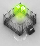 Green bulb light with padlock closed fence concept Stock Photos