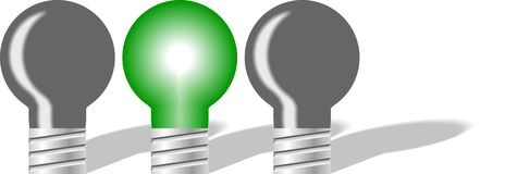 Green bulb in three Royalty Free Stock Photos