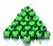 Green_bulbs. A computer-generated 3D render illustration of green holiday bulbs in the shape of a tree Royalty Free Stock Images