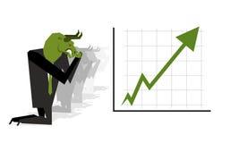 Green Bull prays on  rate increase on stock exchange. Green arro. Green Bull prays on rate increase on stock exchange. Green arrow up. Worship of money. Prayer Royalty Free Stock Photo