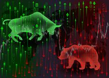 Green bull and red bear. stock illustration