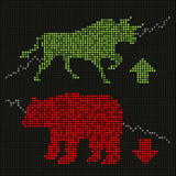 Green bull and red bear on led screen Stock Photography