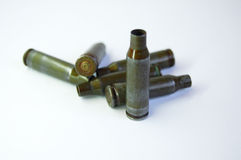 Green bullets from Kalashnikov automatic rifle at white background Royalty Free Stock Photo