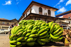 Green bunch of bananas lying in a street Stock Photography