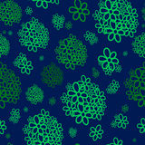 Green bunches of flowers. Seamless pattern. Green bunches of flowers on a blue background. For printing on packaging, bags, cups, laptop, furniture, etc. Vector Stock Photo