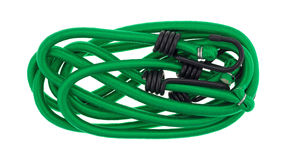 Green bungee cords on a white background Stock Images