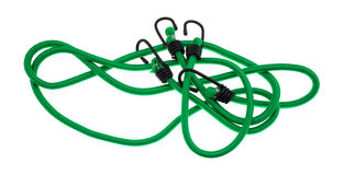 Green bungee cords on a white background Stock Photo