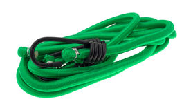 Green bungee cords on a white background Stock Image