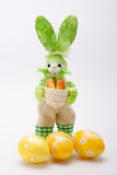 Green bunny with eggs Royalty Free Stock Photography