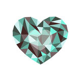 Green-burgundy polygonal heart. a symbol of Valentine`s Day - St Stock Images