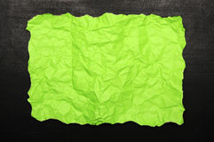 Green burnt paper on chalkboard Royalty Free Stock Photos