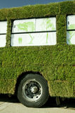 Green bus. Bus which is grass everywhere. Greece Royalty Free Stock Photos