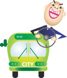 Green bus royalty free stock images