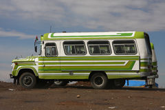 Green bus on the Altiplano Royalty Free Stock Photography