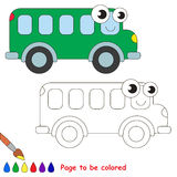 Green bus cartoon. Page to be colored. Royalty Free Stock Images