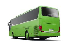 Green bus isolated on white Royalty Free Stock Photo