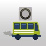 Green bus with smoke circle road way design Royalty Free Stock Photos