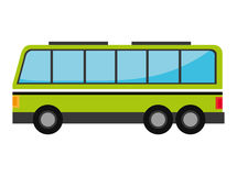 Green bus with windows isolated on white background Stock Photo