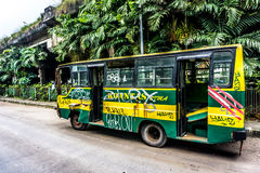 Green Bus wrackage ababdoned on side the street photo taken in Jakarta Indonesia Royalty Free Stock Images