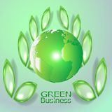 Green Business Background Vector. Green Crystal Leaves vector illustration
