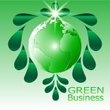 Green Business Background Vector green leave water drops bright star. Green Business Background Vector.  green business background . it can be applied for kinds Stock Image